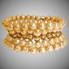 Vintage MIRIAM HASKELL Baroque Pearl Bracelet - Cuff Wrap Bracelet – 5 Rows Glass Pearl Bracelet