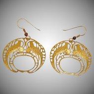 Vintage Pierced PEACOCK Earrings - Vintage Dangle Drop Earrings