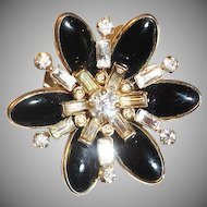 Signed BARCLAY Black Glass Cabochon and Rhinestone Brooch Pin - Vintage Barclay Jewelry
