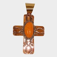 Hand Stamped Copper  - Spiny Oyster Shell  Cross Pendant - Native American Jewelry by Albert Cleveland