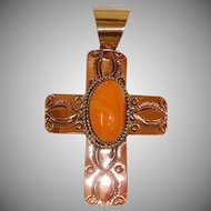 Hand Stamped Copper Spiny Oyster Shell  Cross Pendant - Native American Jewelry - Albert Cleveland