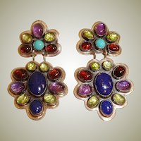 Multistone Nakai Earrings - Native American NAKAI Dangle Drop Turquoise Earrings -Navajo Earrings