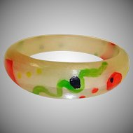 Vintage Red Cobra - Frank Giordano Lucite Hand Painted Bracelet