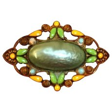 Vintage ART DECO Revival Green Celluloid and Enameled Brass Brooch