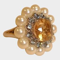 Vintage Adjustable RING Rhinestones and Glass Pearls - Cluster Ring