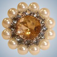 30% off - VINTAGE Ring - Size Medium Adjustable – Rhinestones and Glass Pearls