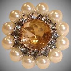 VINTAGE Ring - Size Medium Adjustable – Rhinestones and Glass Pearls