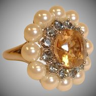 VINTAGE Ring - Size Medium Adjustable –  Rhinestones and Glass Pearls