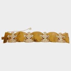 ART DECO Rhinestone and Gold Plated Bracelet