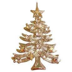 Vintage EISENBERG ICE Christmas Tree Pin - Sparkly Rhinestones