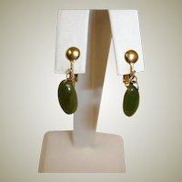 Vintage Petite Dangle Drop Earrings - Faux Jade Green Earrings