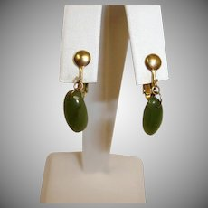 Vintage Petite Dangle Drop Earrings - Faux Jade Green Earrings