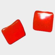 Vintage Lipstick Red Earrings - PIERCED Red Enamel Earrings - MOD Earrings - Era 1960's