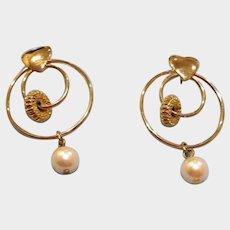 Vintage Hoop Dangle Earrings with HEART - Drop Hoop and Pearl Earrings - Post Pierced Earrings - Circle Earrings