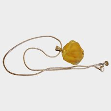 Estate Natural Yellow Beach Glass Cluster Sterling Silver Necklace - SEA GLASS Jewelry
