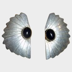 Vintage Navajo Made Post Pierced Earrings Sterling and Onyx - Signed Sterling and J Mike