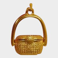 Vintage Pendant or Moving Charm 3-D NANTUCKET BASKET with a Miniature Penny Inside