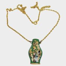 "Vintage Asian Cloisonne Pendant – Green Enamel Urn - Vase Necklace with 16-1/2"" Golden Chain - Hallow Vase Pendant"