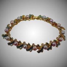 Joan Rivers Bracelet – Vintage Faux  Pearls and Enamel Gold Tone Bracelet