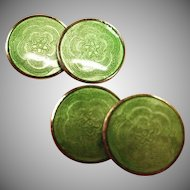 Art Deco Green Guilloche Enamel Cufflinks