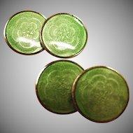 Art Deco Green Guilloche Enamel Cufflinks