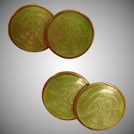 Art Deco Cuff Links -  Vintage Green Guilloche Enamel Cufflinks