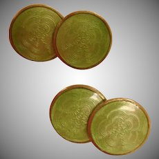 Art Deco Cuff Links -  Vintage Green Guilloche Enamel Cufflinks