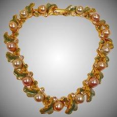 Vintage Faux Pearls and Enamel Gold Tone Bracelet - Joan Rivers Bracelet