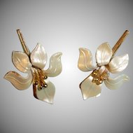 Vintage Signed Cerrito Gold Tipped Cream Petal Earrings