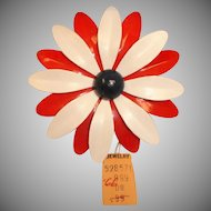 Vintage Large Red White and Blue DAISY Brooch - 1950's Flower Pin  with Original Price Tag