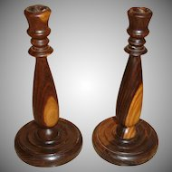 Antique Hand Turned English Cherry Wood Candlesticks - Wooden Candle Holders