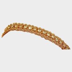 Sale - Vintage 3 Strand Rhinestone Gold Plated Bracelet