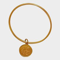 Vintage Circle Bracelet with Charm or Disk - Gold Tone