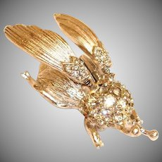 Vintage Hattie Carnegie Trembler Brooch  - Movable or Mechanical BUG Brooch