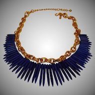 KJL Blue Tribal Necklace - Kenneth Jay Lane Blue Spike Necklace  -  Vintage KJL Jewelry