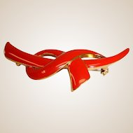Estate LIPSTICK Red Enamel Bow - Knot Style  Brooch / Pin