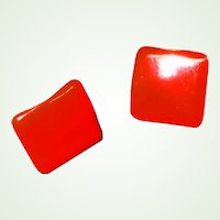 MOD Red Enamel Pierced Earrings