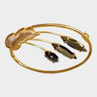 Vintage Faceted Stone and Gold Tone Brooch
