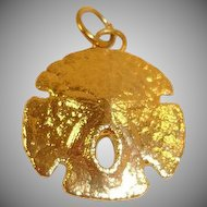Vintage Gold Plated Sand Dollar Charm or Small Pendant