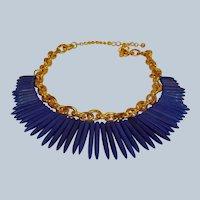 30% Off*** KJL Blue Spike Necklace - Vintage Kenneth Jay Lane Tribal Jewelry