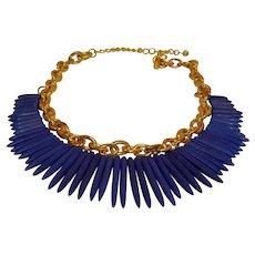SALE***KJL Blue Tribal Spike Necklace - Vintage Kenneth Jay Lane Jewelry