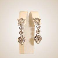 Vintage Butler Wilson Silver Tone Dangle Heart Earrings - B&W Drop Heart Earrings