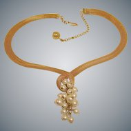 Vintage Hobe necklace -  Wide Mesh Gold Plated Chain with Faux Pearl Cluster