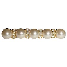 Vintage Faux Pearl and Rhinestone Bar Pin Brooch
