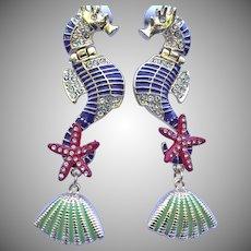 Estate Sea Horse Earrings - Couture Seahorse Pierced Earrings