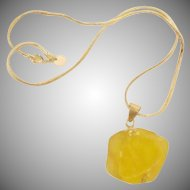Natural Yellow  Beach Glass Cluster Sterling Silver Necklace   -  Estate SEA GLASS Jewelry