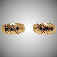 Vintage Navajo Open Hoop Earrings - NAKAI Native American Sterling Silver and ONYX Earrings