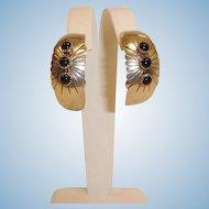 Vintage Navajo Open Hoop Earrings - NAKAI Native American Sterling Silver and ONYX -  Pierced Earrings