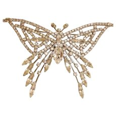 Vintage BUTLER & WILSON Couture Butterfly Brooch  - B & W Rhinestone Crystal Pin Brooch