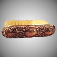 Victorian Sterling Silver Repousse Vanity Brush  - Florals & Scrolls Design